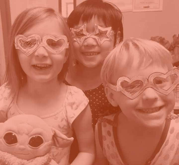 Happy Children with star glasses
